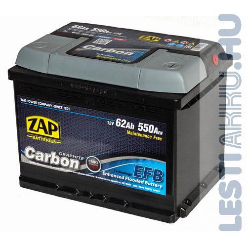 ZAP Graphite Carbon EFB Autó Akkumulátor 12V 62Ah 550A Jobb+